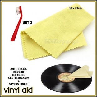 Anti-Static Record Cleaning Cloth & Stylus Brush (Set 2)- Vinyl Aid