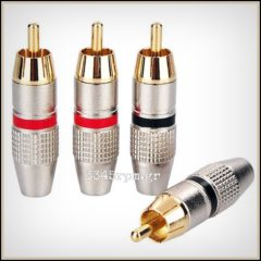 RCA Gold Plated Connectors Plug Dynavox Set 4