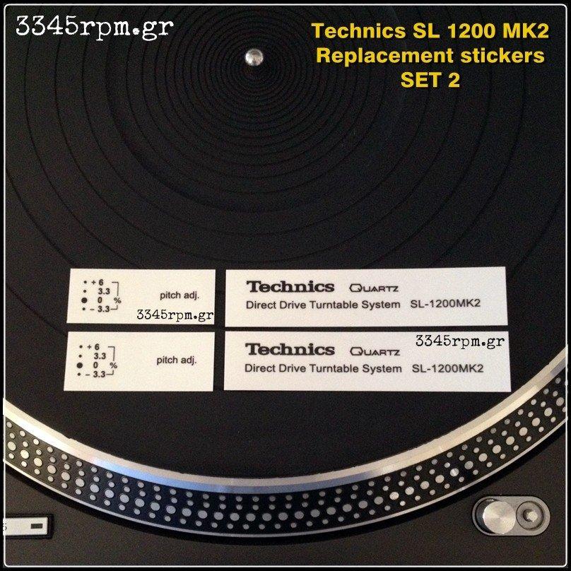 Technics SL 1200 MK2  Logo replacement stickers Black, 3345rpm.gr