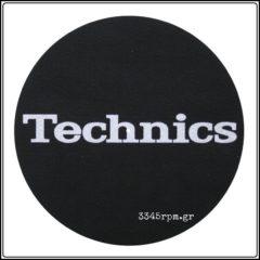 Technics Slipmat Classic_BLACK-WHITE logo, 3345rpm.gr