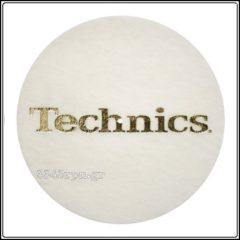 Technics Slipmat WHITE-GOLD logo, 3345rpm.gr