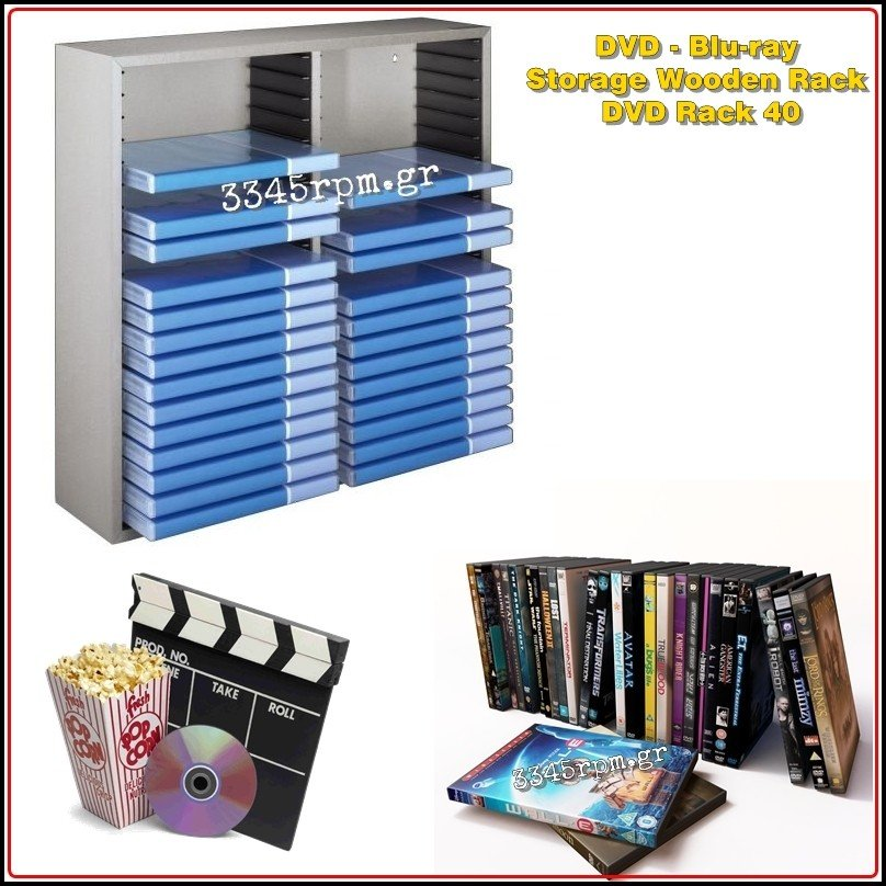 DVD Holder Storage Wooden Rack - DVD Rack 40, 3345rpm.gr