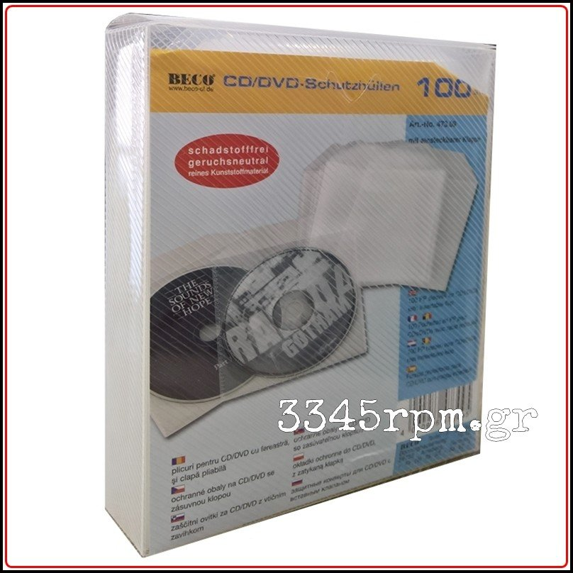 CD - DVD Protection sleeves with envelope flap -Set 100