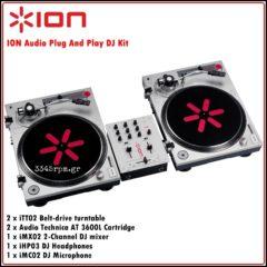 ION Audio DJ Kit - 2 Turntables & DJ Mixer Set
