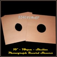 Phonograph Shellac 78RPM Record Sleeves -10inch