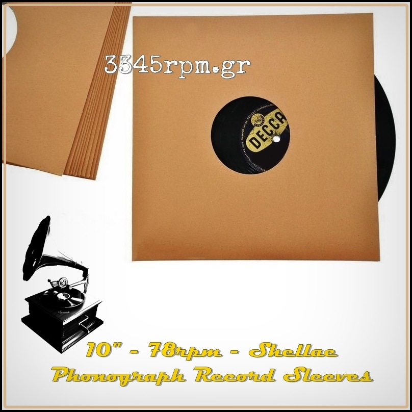 Phonograph Shellac 78RPM Record Sleeves - 10inch